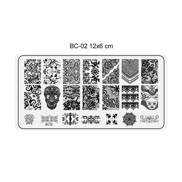 Körömnyomda lemez 6x12 cm méretű -BC02