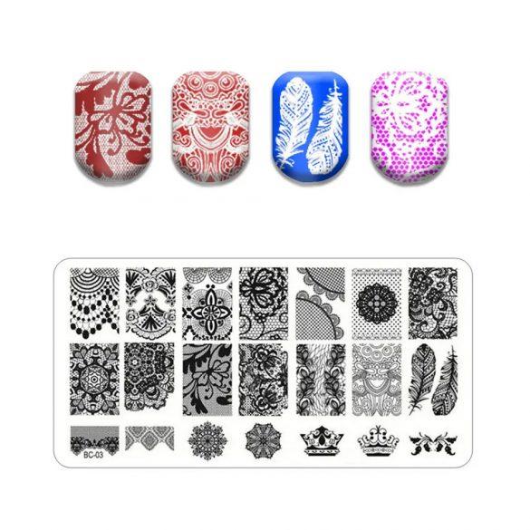 Körömnyomda lemez 6x12 cm méretű -BC03