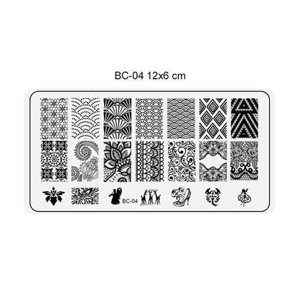 Körömnyomda lemez 6x12 cm méretű -BC04