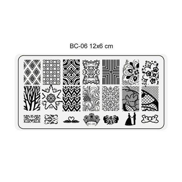 Körömnyomda lemez 6x12 cm méretű -BC06