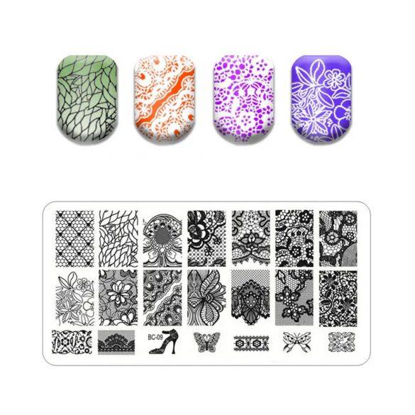 Körömnyomda lemez 6x12 cm méretű -BC09