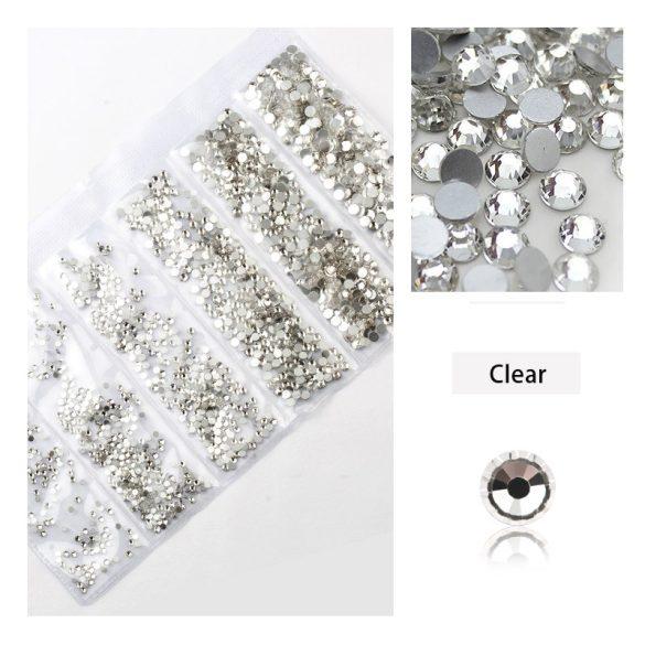 1680 darabos kristály strassz készlet  6 féle méretben P01 -Clear