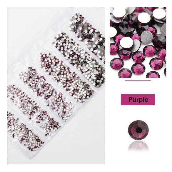 1680 darabos kristály strassz készlet  6 féle méretben P02 -Purple