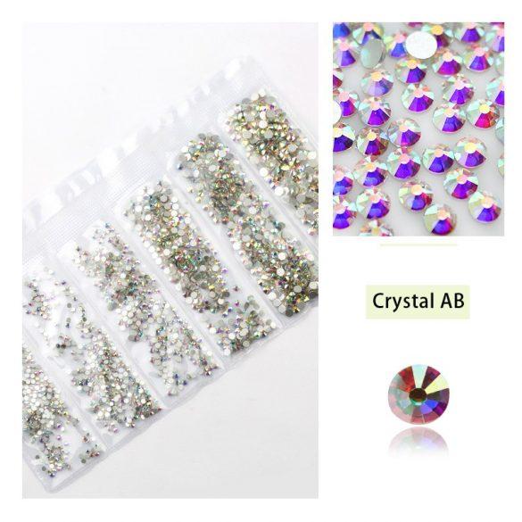 1680 darabos kristály strassz készlet  6 féle méretben P04 -Crystal AB