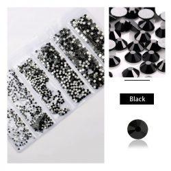 1680 darabos kristály strassz készlet  6 féle méretben P08 - Jet/black