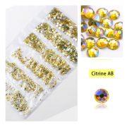 1680 darabos kristály strassz készlet  6 féle méretben P13 - Citrine AB