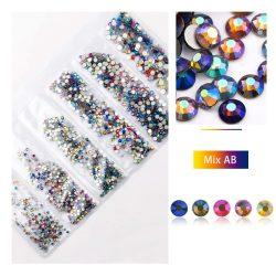 1680 darabos kristály strassz készlet  6 féle méretben P14 - Mix color AB