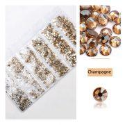 1680 darabos kristály strassz készlet  6 féle méretben P20 - Plate champange