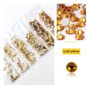 1680 darabos kristály strassz készlet  6 féle méretben P22- Gold yellow