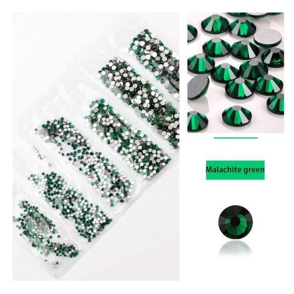 1680 darabos kristály strassz készlet  6 féle méretben P24 - Malachite green