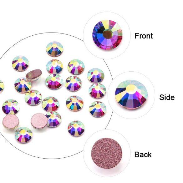 1680 darabos kristály strassz készlet  6 féle méretben P34 - pink AB