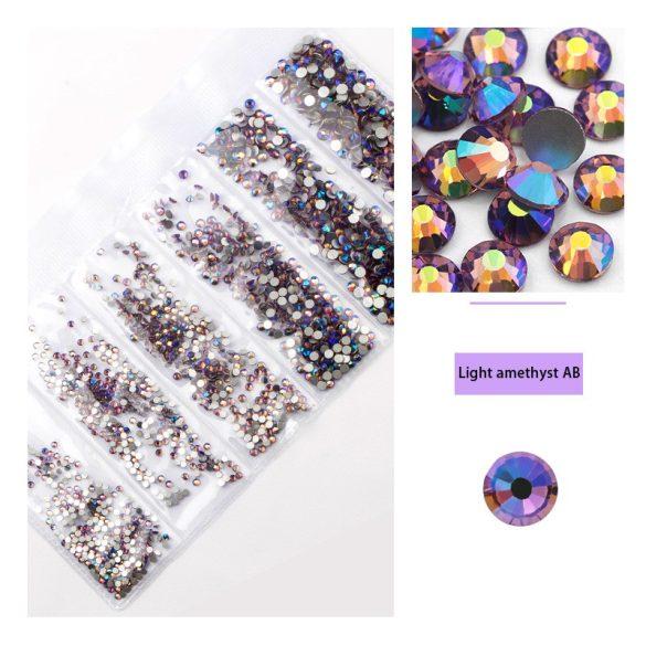 1680 darabos kristály strassz készlet  6 féle méretben P35 - Light amethyst AB