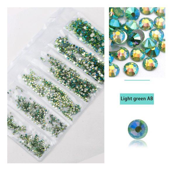 1680 darabos kristály strassz készlet  6 féle méretben P36 - Light green AB