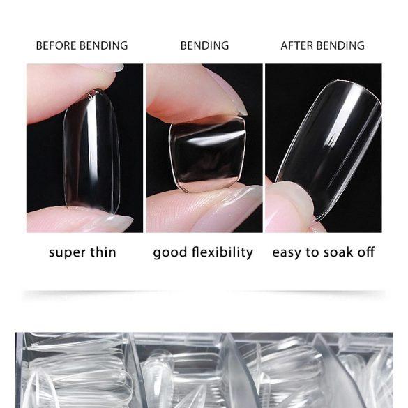 Zselés műköröm tip, L-es szűkített kocka - clear