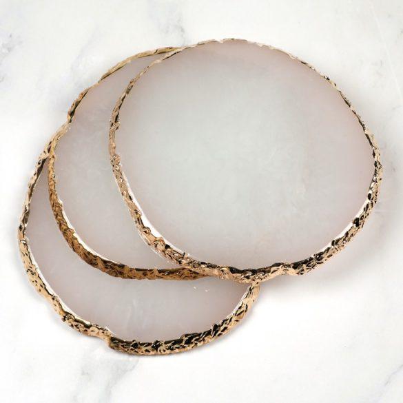 Bemutató dekor alátét -fehér, aranyszegéllyel