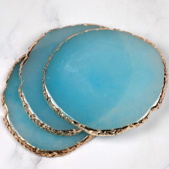 Bemutató dekor alátét - kék, aranyszegéllyel