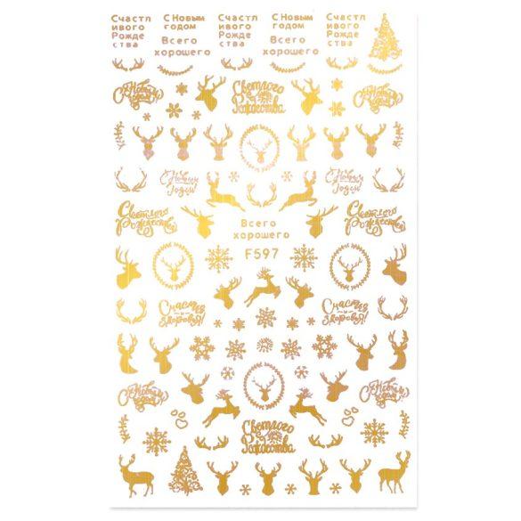 Arany karácsony köröm matrica 4