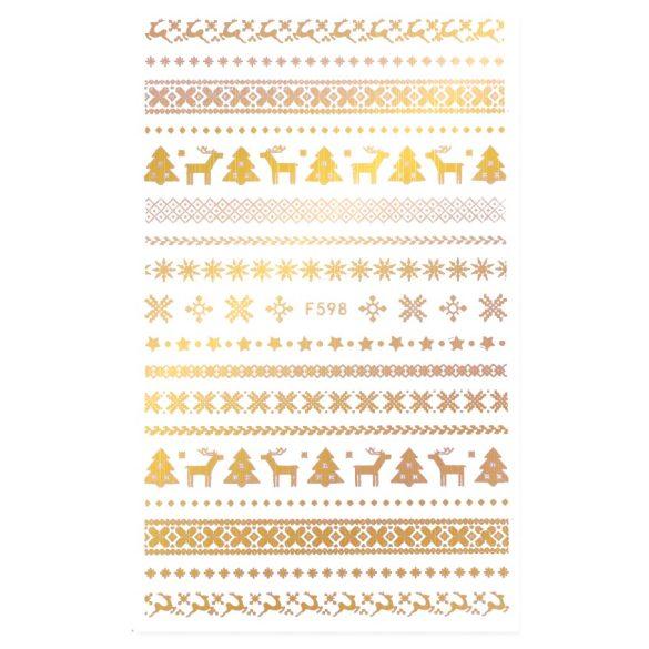 Arany karácsony köröm matrica 3