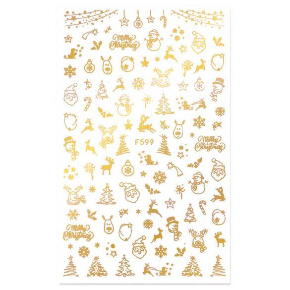 Arany karácsony köröm matrica 2
