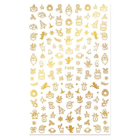 Arany karácsony köröm matrica 1