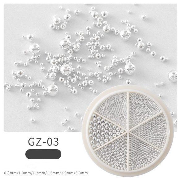 Ezüstfehér szórógyöngy /kaviár vegyes méret