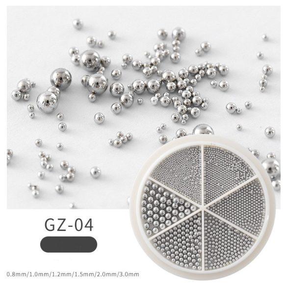 Ezüst szórógyöngy /kaviár vegyes méret