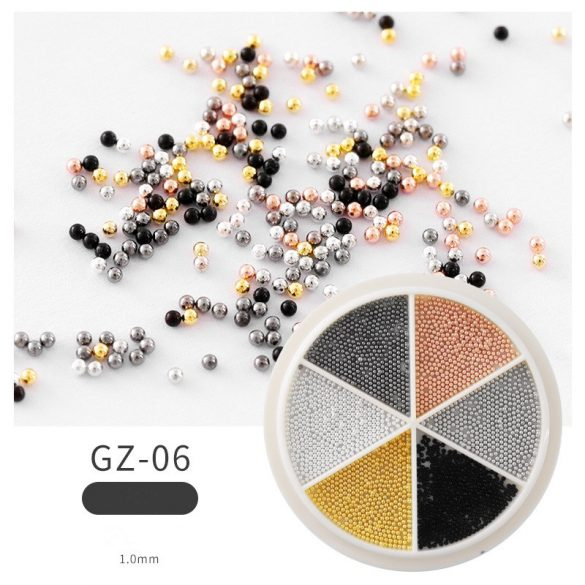 Hatszínű szórógyöngy /kaviár 1 mm