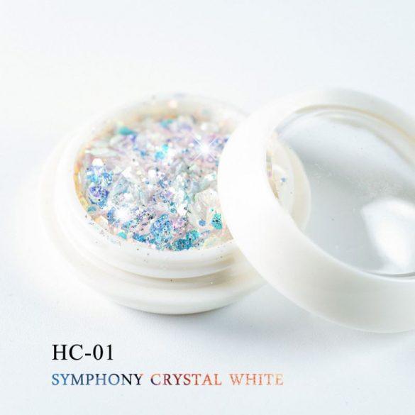 Díszítő flitter, fehér kristály színben, hatszögletű, vegyes méretű