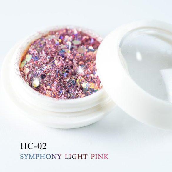 Díszítő flitter, világos pink színben, hatszögletű, vegyes méretű