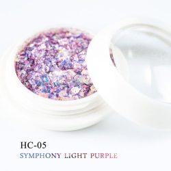 Díszítő flitter, világos lila színben, hatszögletű, vegyes méretű