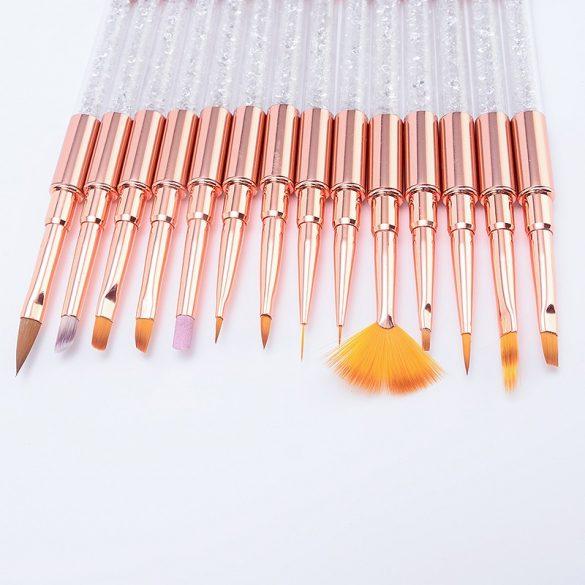 14 darabos műköröm ecsetkészlet rosegold színben, kristályokkal díszítve